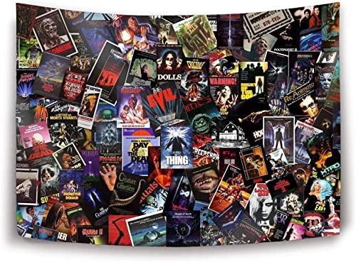 Miaoquhe Horror Movie Videotape Collage Wall Hanging Bedding Tapestry 80 x 60 inch