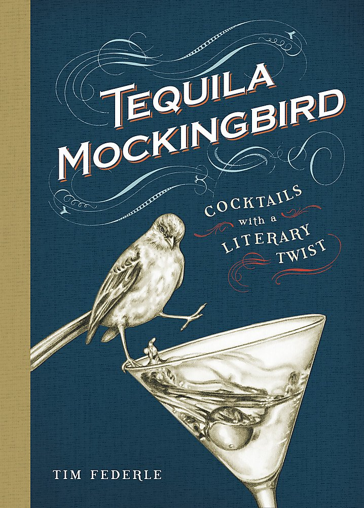 This is an image of a cocktail book in blue-colored cover, with a picture of a bird on a cocktail glass.