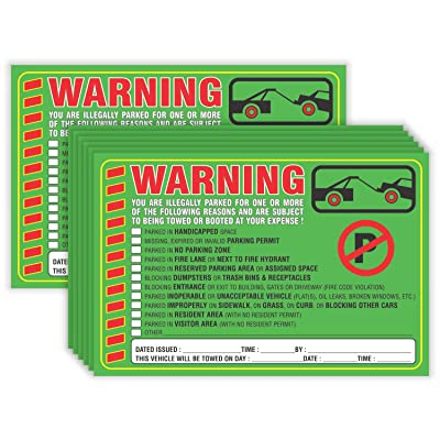 "Parking Violation Stickers Notice (Pack of 50) Tow Warning You are Illegally Parked Multi Reasons - Large Size 6"" X 9"" – Green : Office Products"