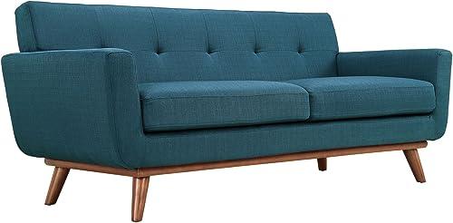 Modway Engage Mid-Century Modern Upholstered Fabric Loveseat