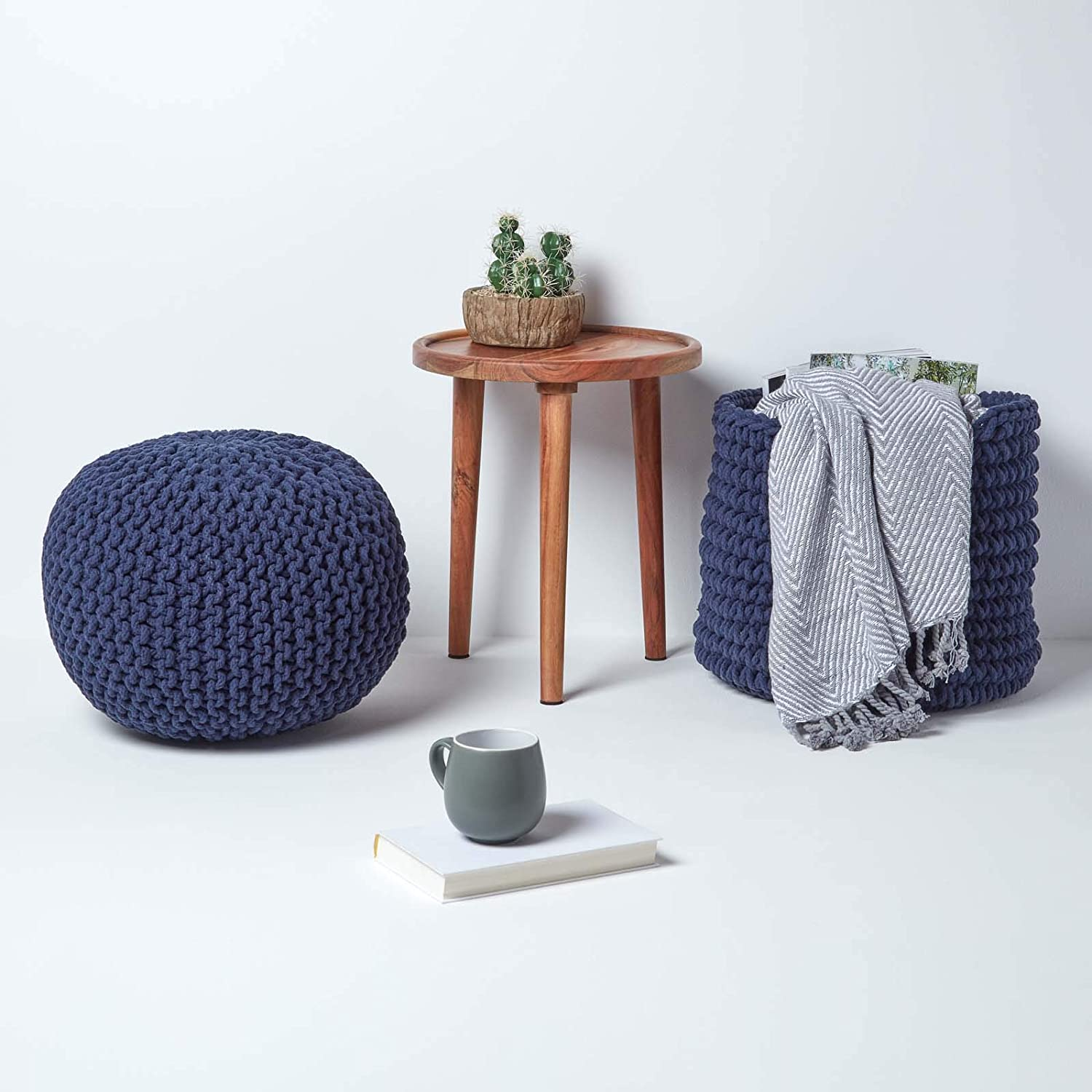 Homescapes Mustard Knitted Pouffe Footstool Bean Filled 100% Cotton for Living Room Children or the Elderly… Navy Blue