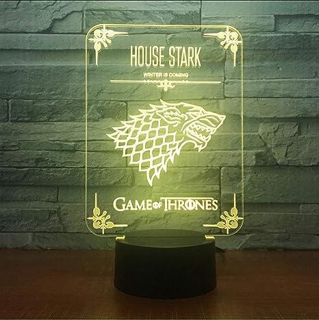Juego de Tronos Casa Stark Wolf Acrílico Ilusión Lámpara 3D ...