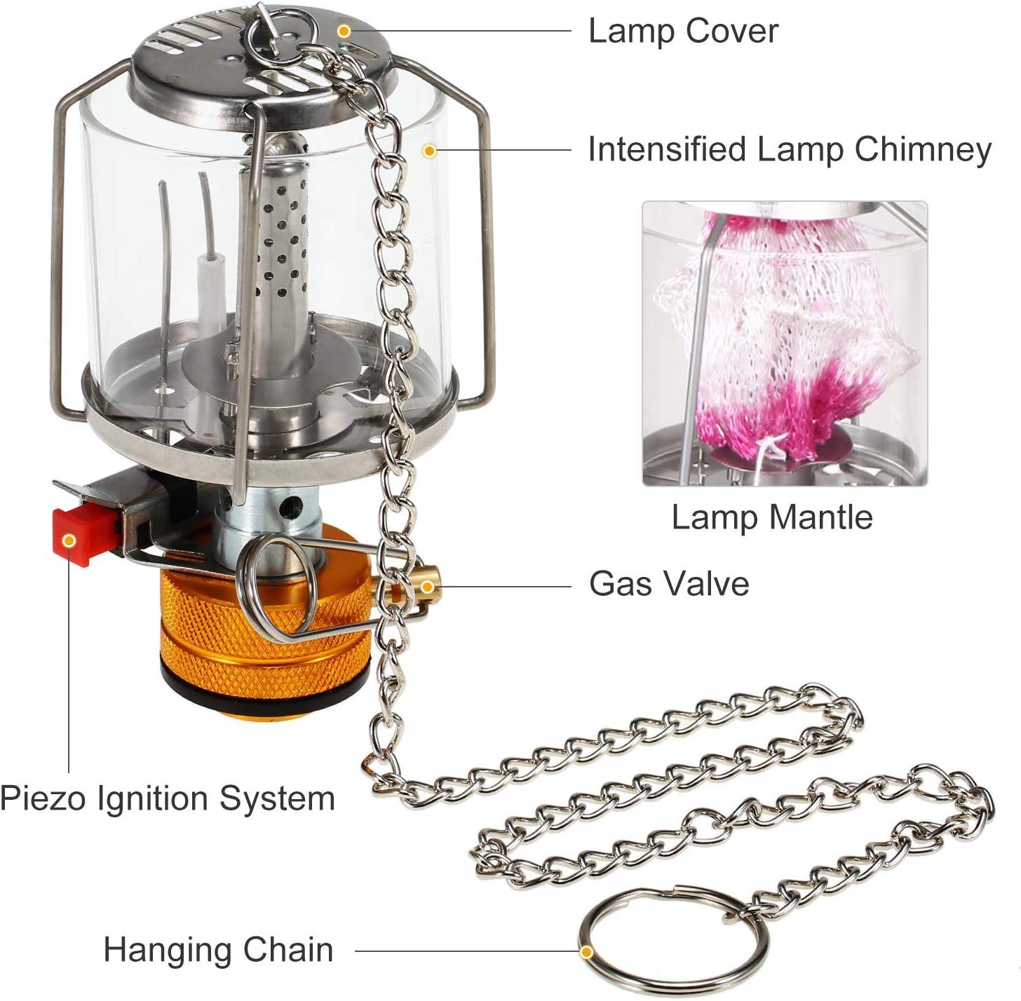 Nishore Lámpara de Camping Linterna de Gas para Acampar Portátil al Aire Libre Luz de Lámpara de Tienda de Gas de Encendido Piezoeléctrico