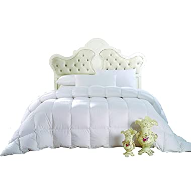 GOOSE DOWN COMFORTER KING, 300 Thread Count 100% Cotton Striped Shell, 600FP, 40 Ounce Down fill