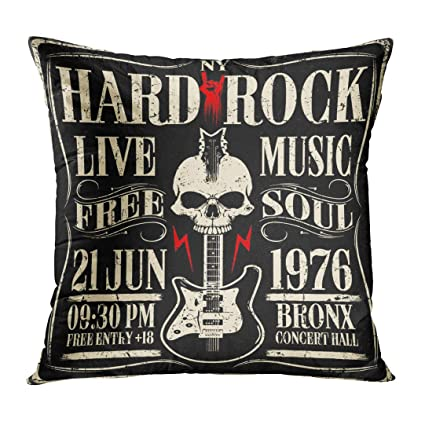 Pillow Funny Long Live Rock N Roll Electric Guitar Linen Cushion Cover Home Decor