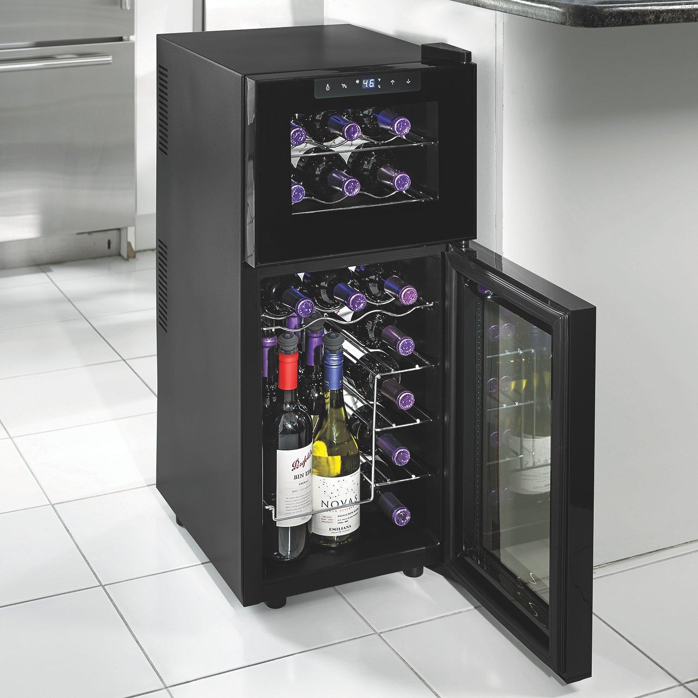 Wine Enthusiast 272 03 19 05 Silent 21 Bottle Dual Zone Touchscreen Wine Cooler, Black