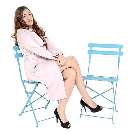 Magna Homewares Bistro Metal Folding Outdoor, Indoor Chairs Set of 2 (Turquoise)