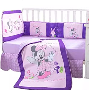 JORGE'S HOME FASHION INC New Pretty Collection Minnie Mouse Baby Girls Crib Bedding Set Nursery 5 PCS
