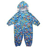 Vine Kids One Piece Rainsuit Coverall Baby Waterproof Jumpsuit (1-7 Years)