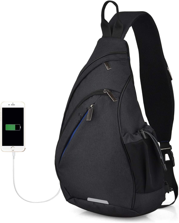 One Shoulder BackpackSling Bag Crossbody USB Boys Cycling Sports Travel Veelzijdige modetas Student School