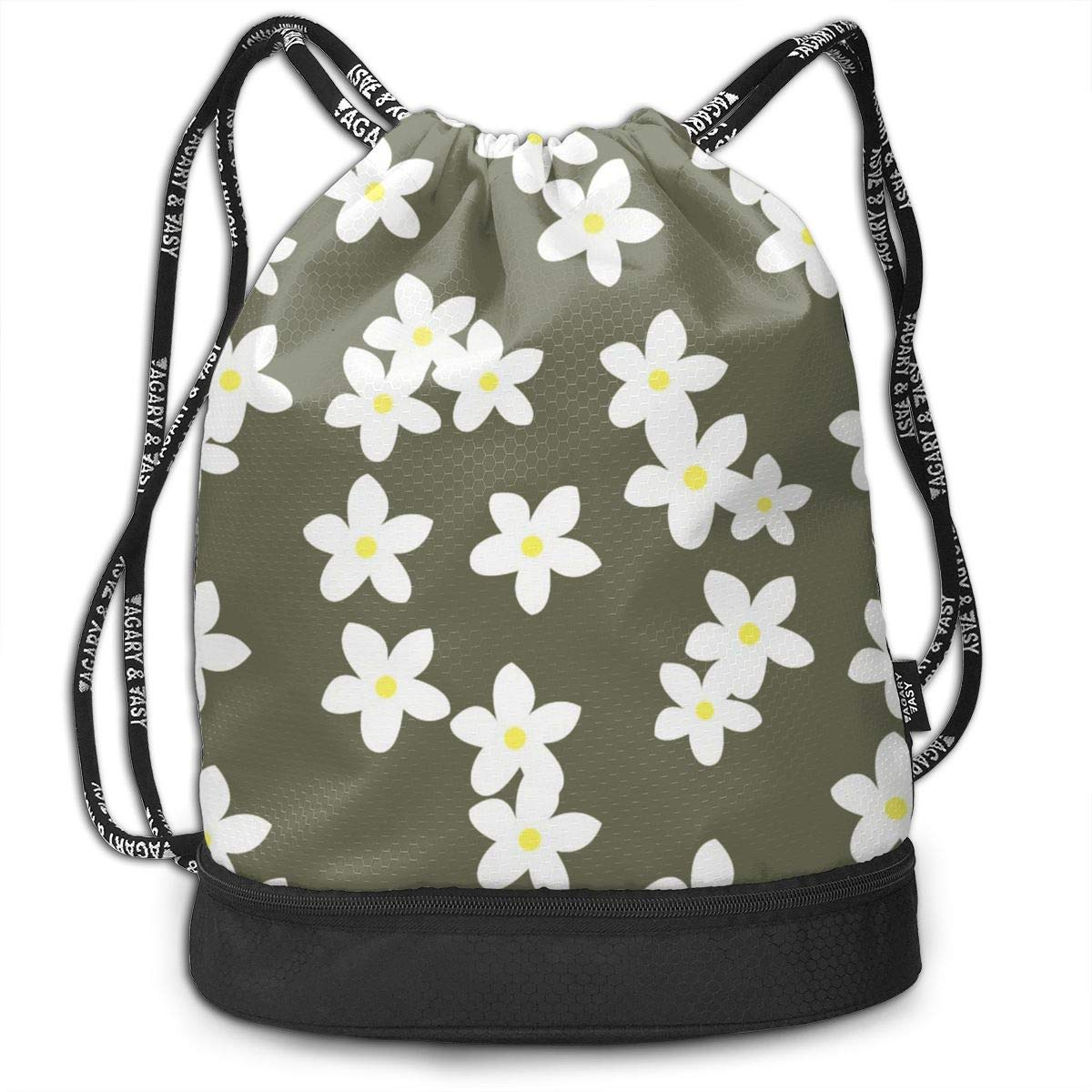 4dc631e76e51 Amazon.com  Airealy White Flowers Outdoor Bundle Backpack Drawstring  Backpack Bags Pack Travel Sport Gym Sack Bag for Men Women and Kids  Sports    Outdoors