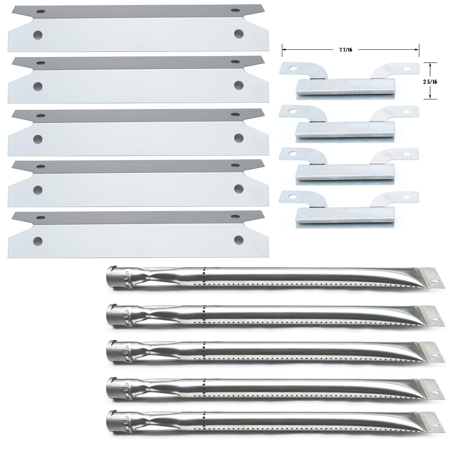 Direct Store Parts Kit DG261 Replacement for Gas Grill Brinkmann 810-1575-W Gas Grill Parts Kit (Stainless Steel Burner + Stainless Steel Carry-Over Tubes + Stainless Steel Heat Plate)