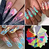 16PCS Holographic Fire Flame Nail Stickers - Halloween Flame Reflections Nail Art Decals 3D Vinyls Nail Stencil for…