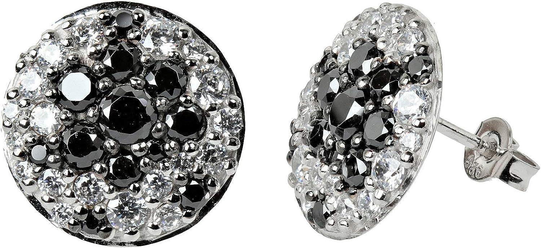 VIVENTY - Pendientes de plata 925 con circonitas blancas y negras