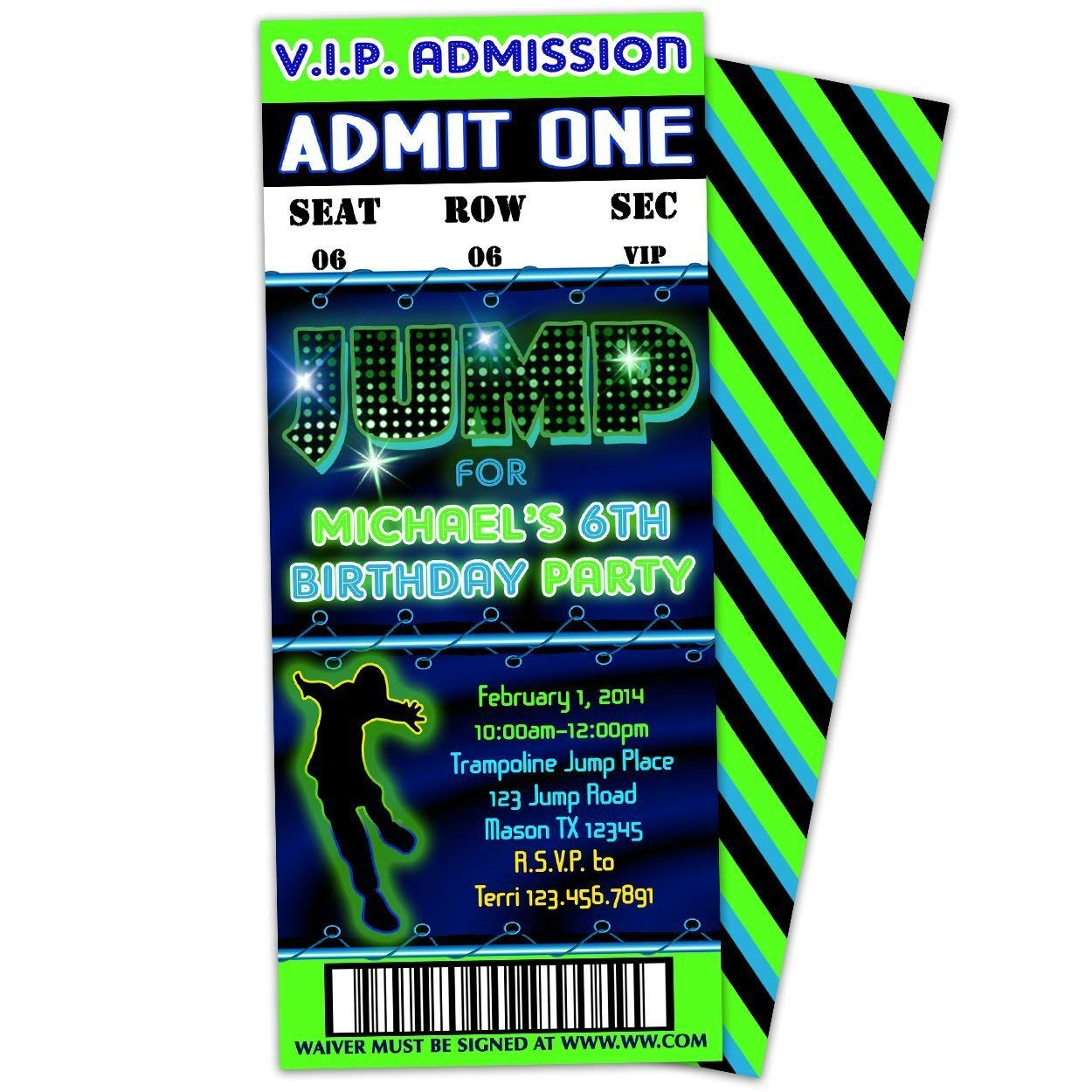 Amazon Trampoline Party JUMP Birthday Invitations Boy Green Blue Ticket Handmade