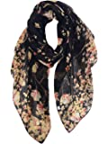 GERINLY - Lightweight Floral Birds Print Shawl Scarf Gifts For Christmas