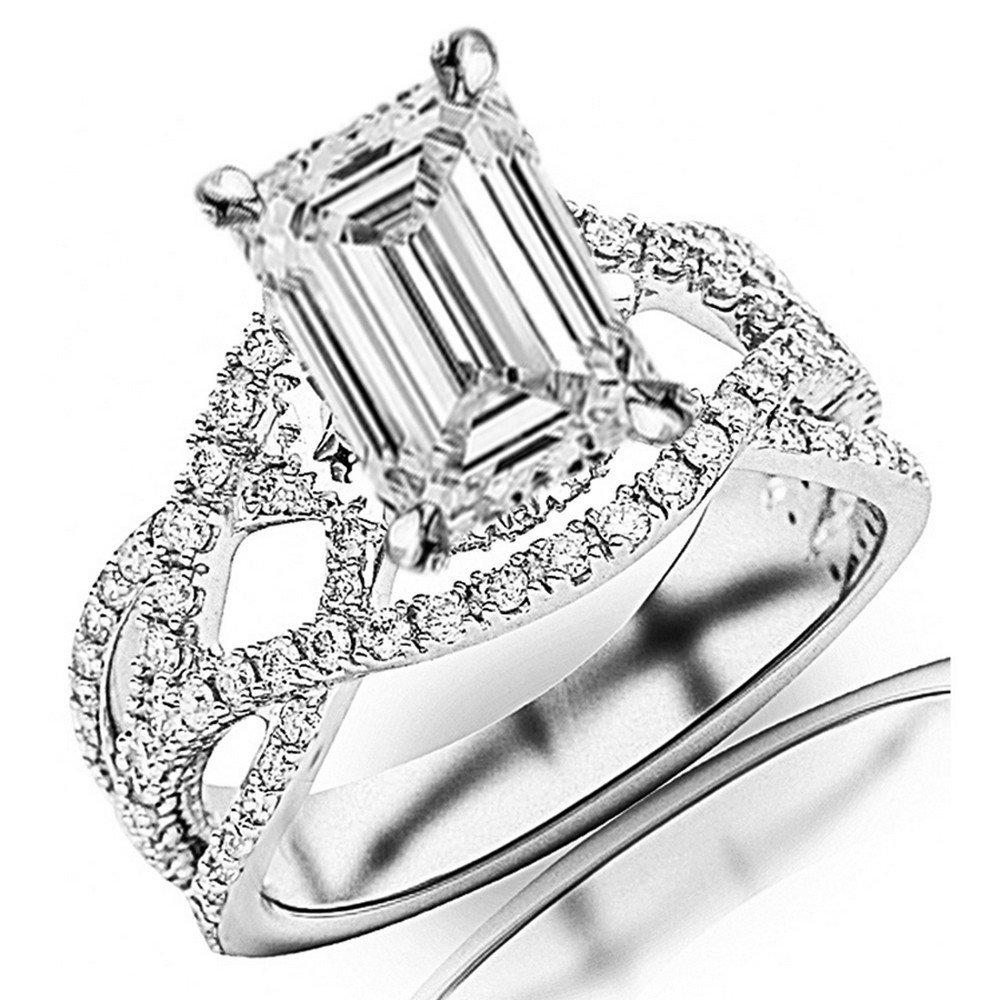 1.45 Cttw 14K White Gold Emerald Cut Eternity Love Twisting Split Shank Pave-set Round Diamond Ring with a 0.7 Carat D-E Color VS1-VS2 Clarity Center