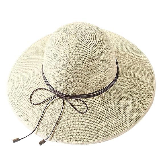 Rcool Gorras de béisbol Viseras Gorro de pescador Pamelas Sombreros Panamá, Sombrero del arco de la paja del ala grande colorido de las mujeres Sombreros ...