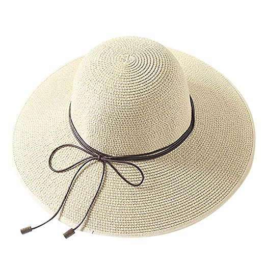 Sunyastor Women s Beach Cap Floppy Straw Hat Large Brim Sun Hat Women  Summer Beach Cap Big ce1ecb4e3f4d