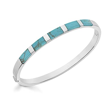 Tuscany Silver Sterling Silver Turquoise Torque Bangle 9CqMd8xIg2