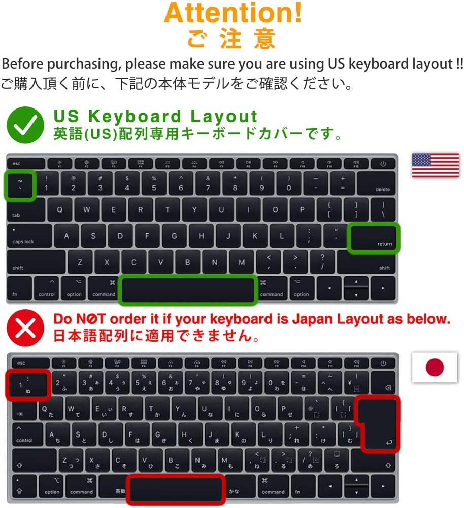 innowatt Premium Ultra Thin Keyboard Cover Protection Skin for MacBook Pro with Function Key 13 2016 2017 2018 2019, Apple Model Number A1708 No Touch Bar