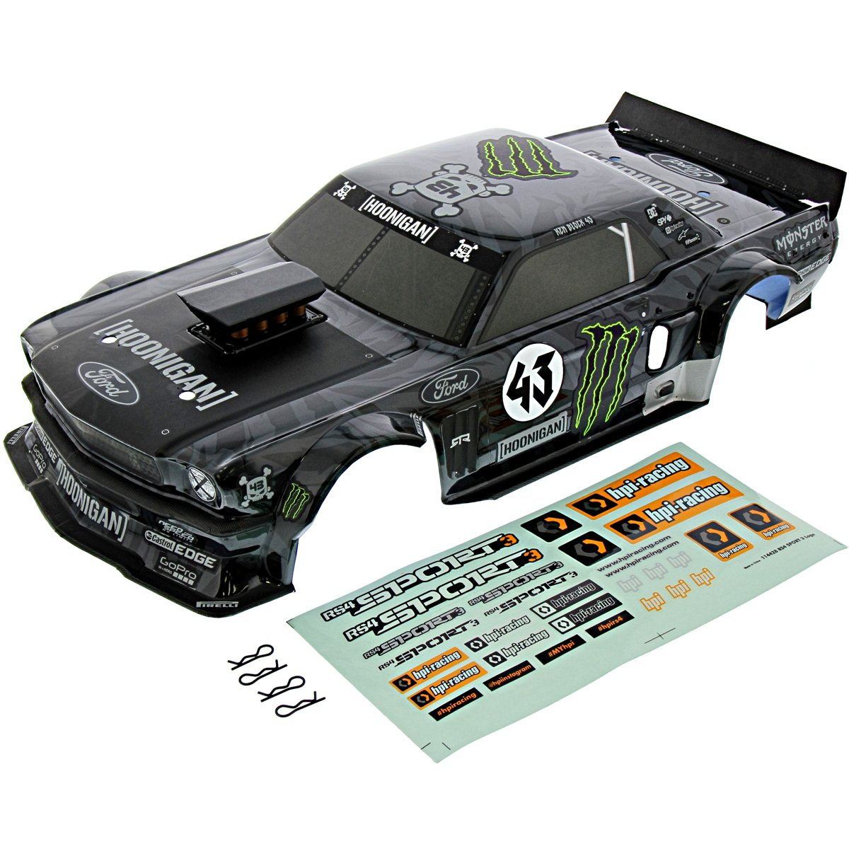 Amazon com hpi 1 10 rs4 sport 3 4wd drift ken block 1965 ford mustang hoonicorn rtr body toys games