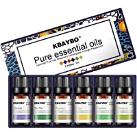 K KBAYBO Essential Oil for Diffuser, Aromatherapy Oil Set, 6 Kinds Fragrance of Lavender, Tea Tree, Rosemary, Lemongrass…