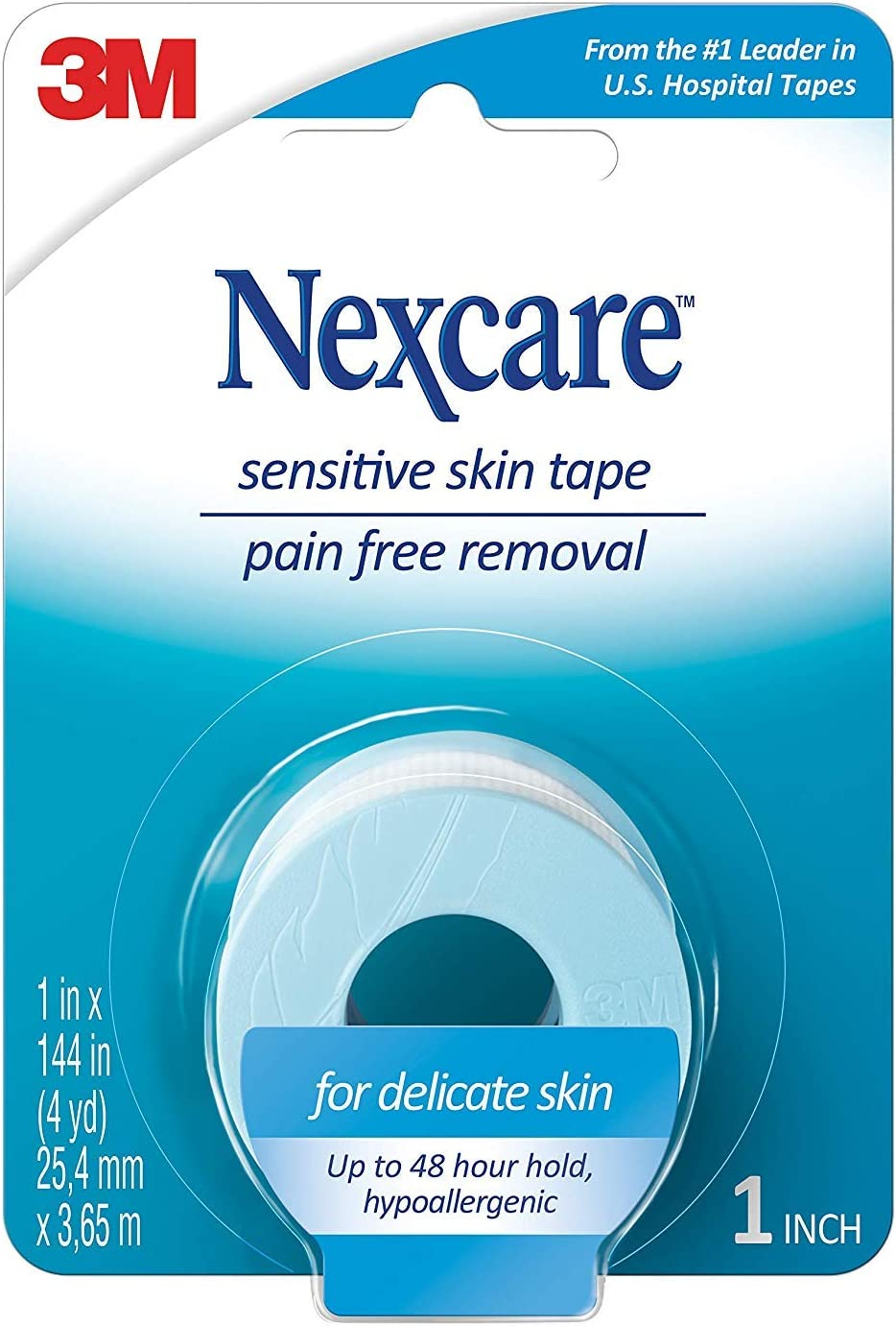Nexcare Sensitive Skin Low Trauma Tape 1 in x 144 in 1 ea (Pack of 4): Health & Personal Care