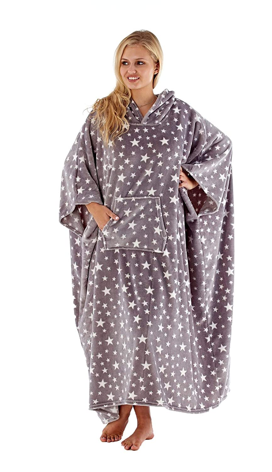 New Womens Hooded Full Length Soft Fleece All in One Poncho Blanket Bath Robe