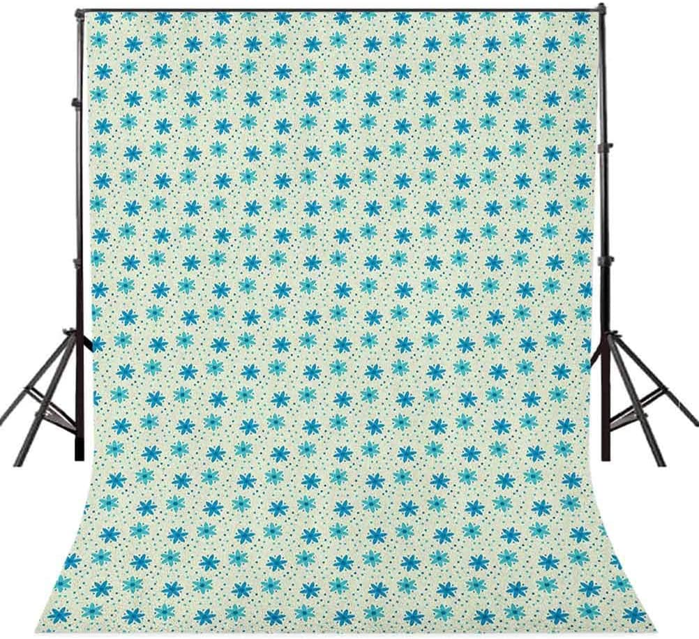 9x16 FT Ivory and Blue Vinyl Photography Background Backdrops,Nostalgic Doodle Dotted Background Nature Growth Arrangement Background for Selfie Birthday Party Pictures Photo Booth Shoot