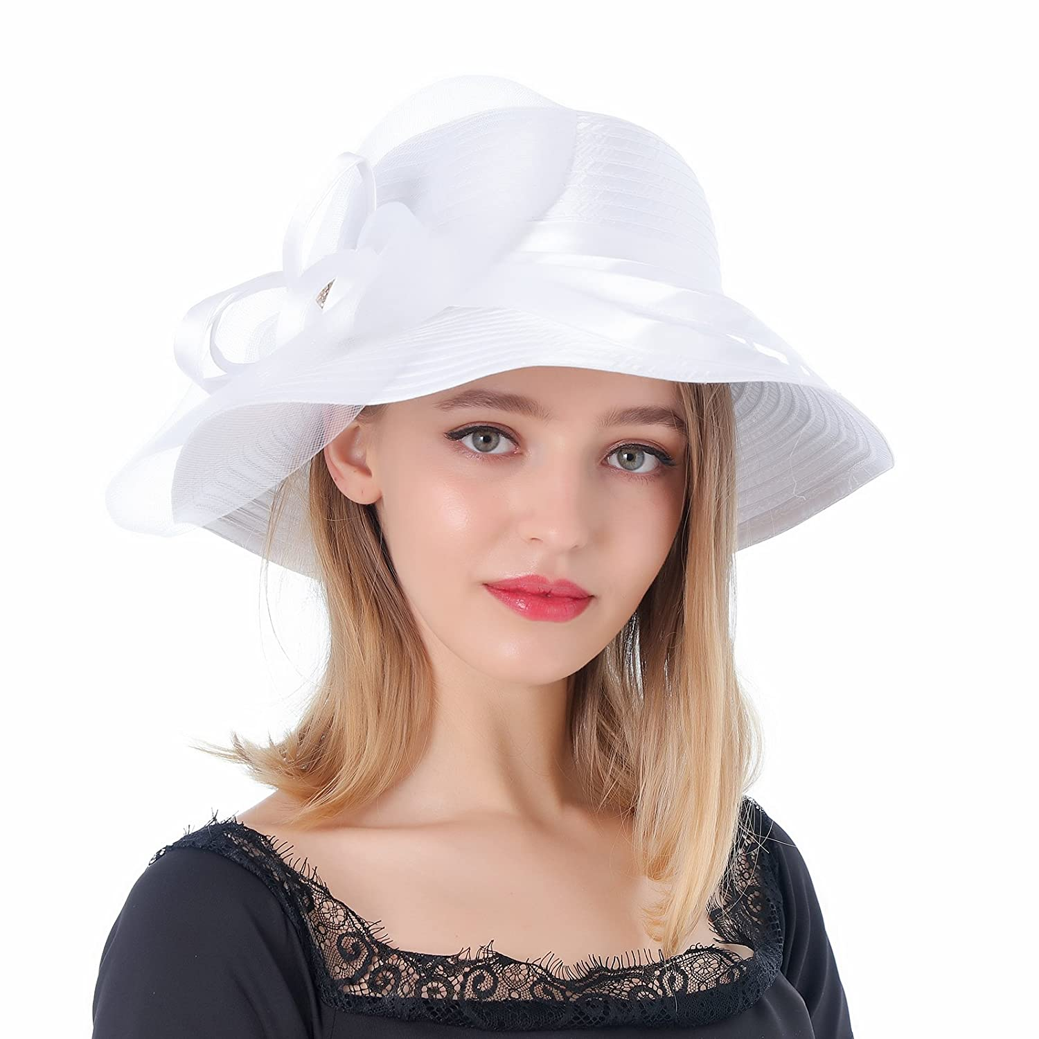 1930s Style Hats | Buy 30s Ladies Hats Dantiya Sun Hats For Womens Summer Wide Brim Kentucky Derby Church Dress Wedding Floral Party Hat $16.99 AT vintagedancer.com