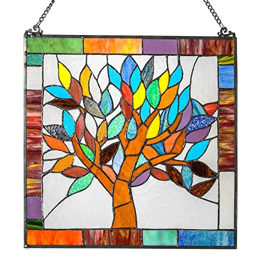 18 H Tiffany Style Stained Glass Mystical World Tree Window Panel