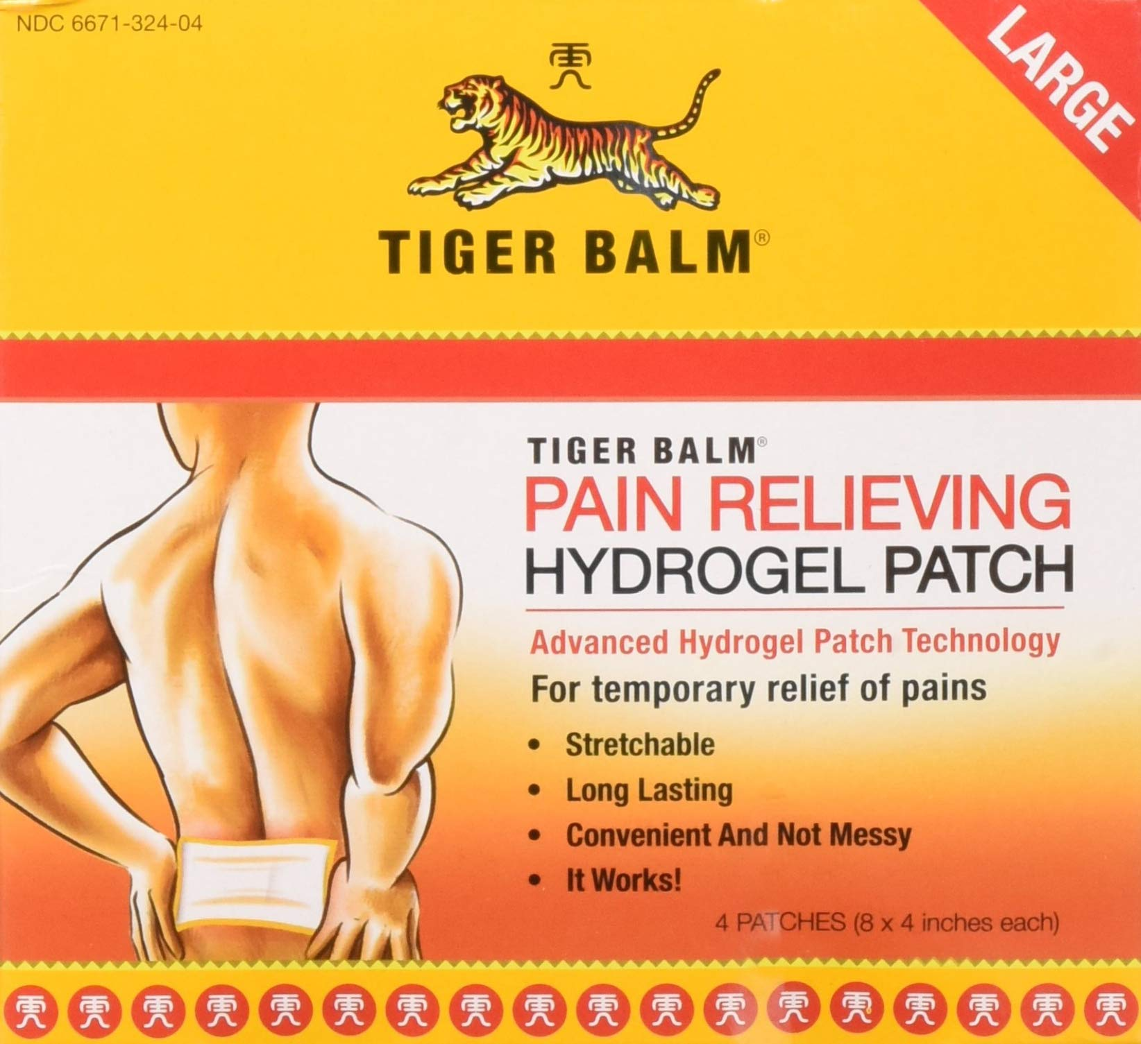 Tiger Balm Pain Relieving Patch Large 4 Each (Pack of 6) by Tiger Balm