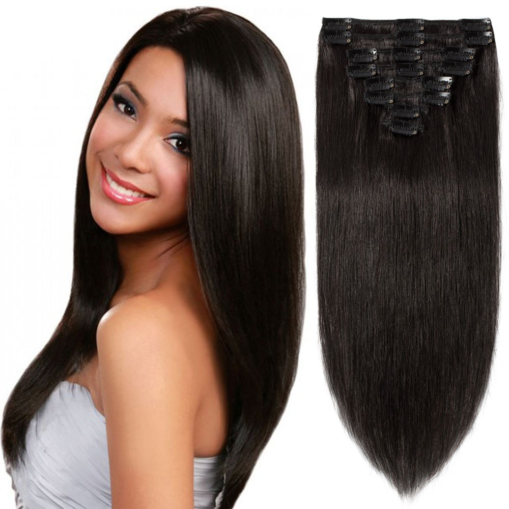 Standard Weft 10 Inch 70g Clip in 100% Real Remy Human Hair Extensions 8 Pieces 18 Clips #1B Natural Black by US Fahion Outlet