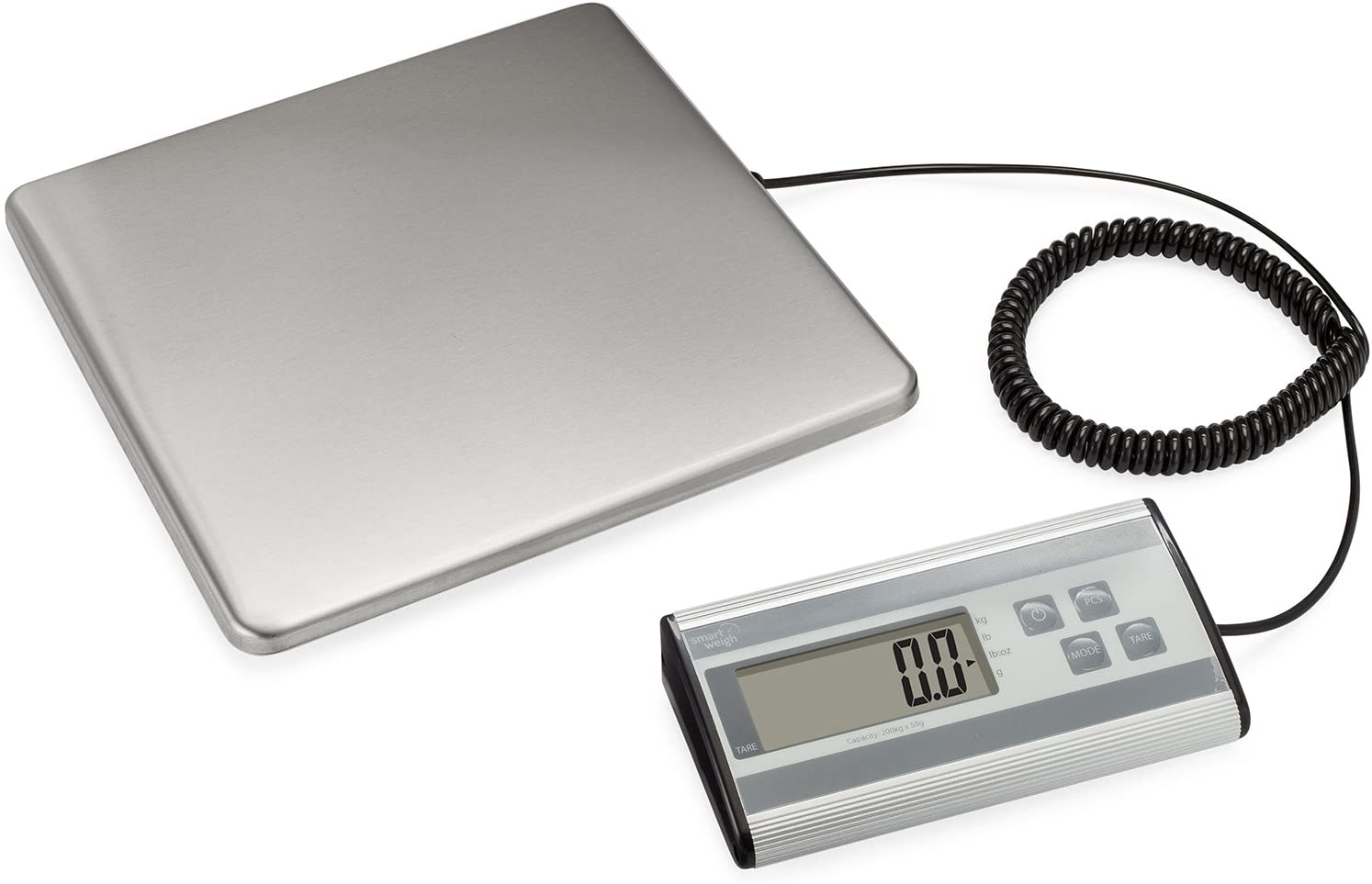 Smart Weigh Digital Heavy Duty Shipping and Postal Scale with Durable Stainless Steel Large Platform, 440 Pound Capacity x 6 oz Readability, UPS USPS Post Office Postal Scale and Luggage Scale : Office Products