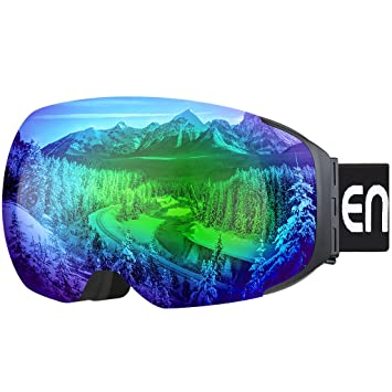 ENKEEO Ski Goggles - Detachable Dual Layer Anti-Fog Magnet Lens