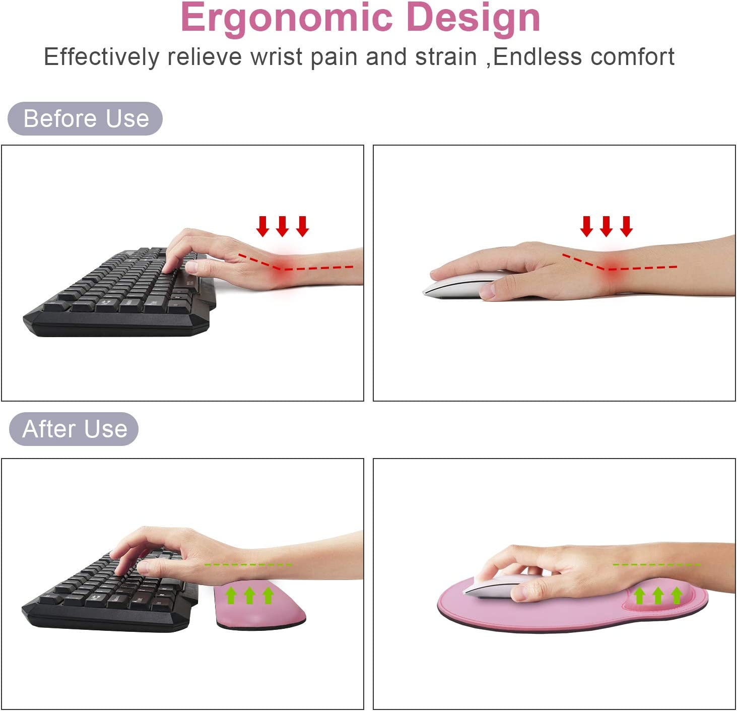 Pink Ergonomic Mouse Pad Set Keyboard Wrist Rest Pad and Mousepads with Wrist Support,iVeze Pu Leather Memory Foam Lightweight Comfortable Mouse Pads for Home Office Efficient Working