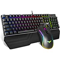 Havit Mechanical Keyboard and Mouse Combo RGB Gaming 104 Keys Blue Switches Wired USB Keyboards with Detachable Wrist…