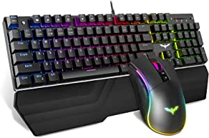 OSCAR BATES 2019 V100 Three-Color Illuminated Keyboard and Mouse Set USB Wired Backlit Gaming Mouse and Keyboard Set