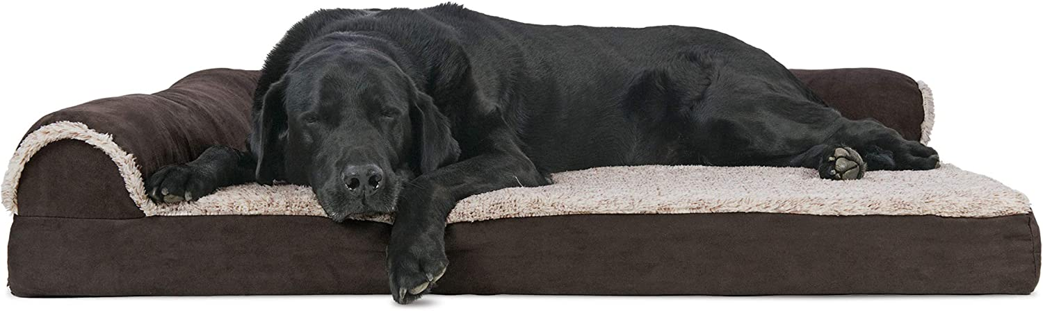 Furhaven Pet Dog Bed - Deluxe Orthopedic Two-Tone Plush and Suede L Shaped Chaise Lounge Living Room Corner Couch Pet Bed with Removable Cover for Dogs and Cats, Espresso, Jumbo : Pet Supplies