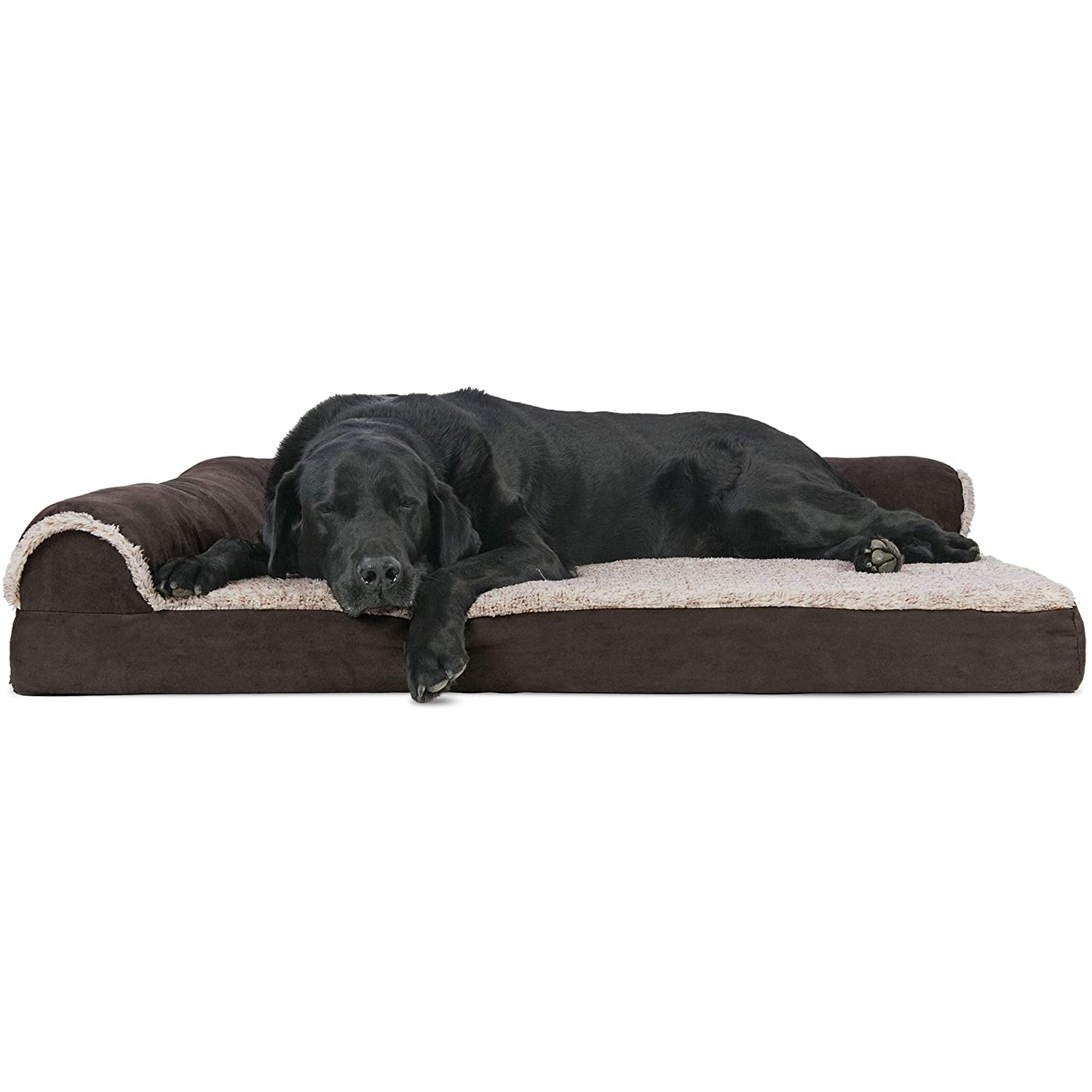 FurHaven Pet Dog Bed   Deluxe Orthopedic Faux Fur & Suede L-Shaped Chaise Couch Pet Bed for Dogs & Cats, Espresso, Jumbo