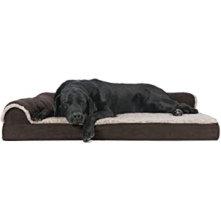Furhaven Pet Dog Bed | Deluxe Orthopedic Two-Tone Plush Faux Fur & Suede L Shaped Chaise Lounge Living Room Corner Couch Pet Bed w/ Removable Cover for Dogs & Cats, Espresso, Jumbo