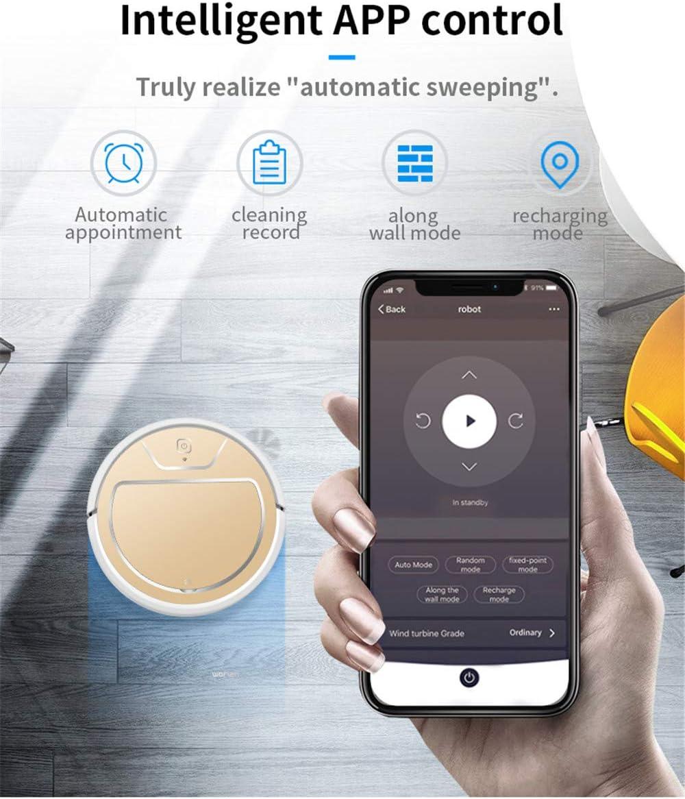 W Robot Aspirateur pour La Maison Balayage Automatique De La Poussière Stériliser La Télécommande Intelligente De L\'application Mobile Planifiée,d\'or Pink