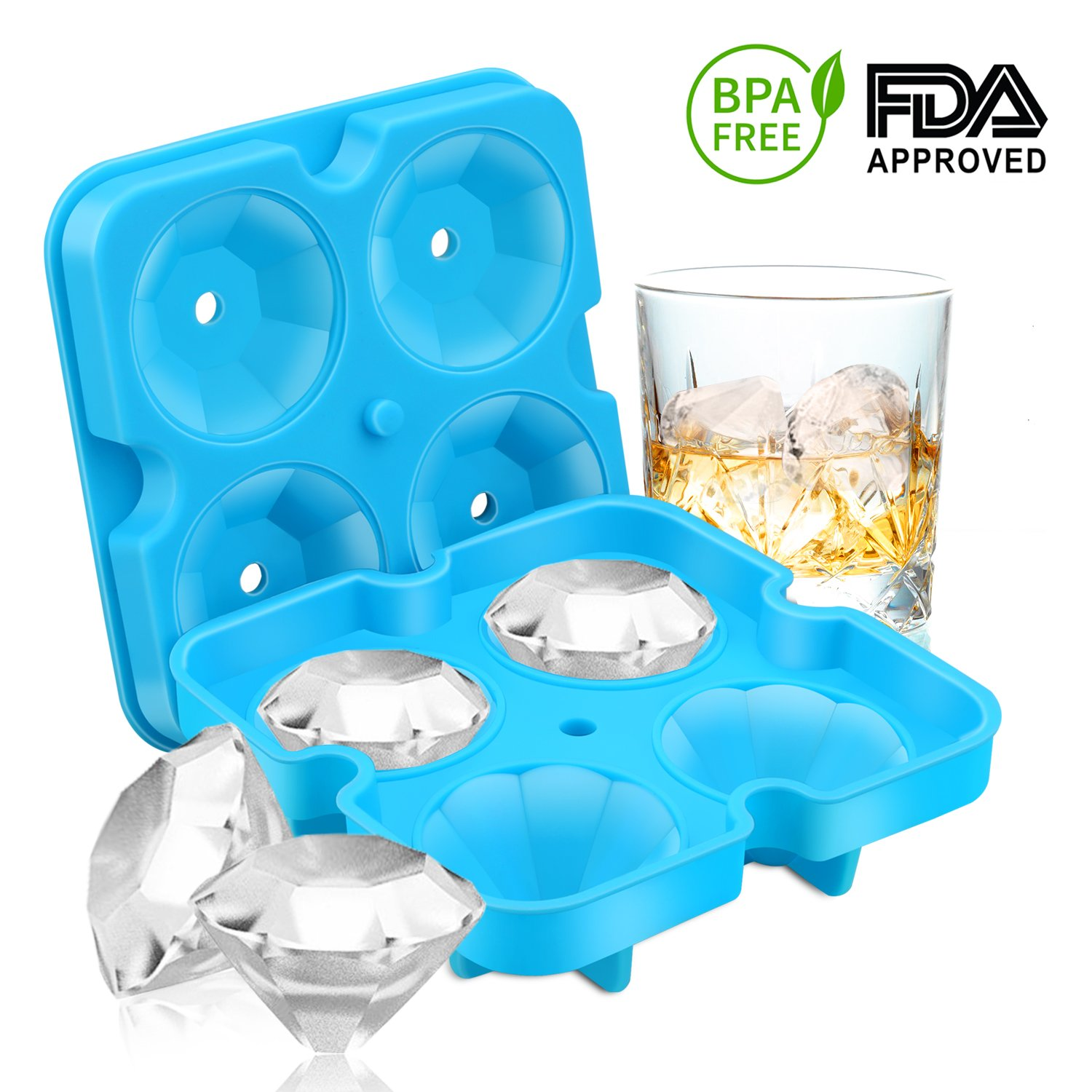 Ice Cube Trays, Diamond-Shaped Fun Ice Cube Molds BPA Silicone Flexible Ice Maker for Chilling Whiskey Cocktails (Black) SAWNZC