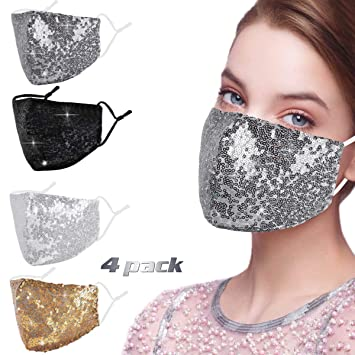 Sparkle AAA Crystal Beads Silver Chain Lanyard Hook Mask holder Bling Bling New Fashion Sequin Ladies PLUS Silver Black Face Mask
