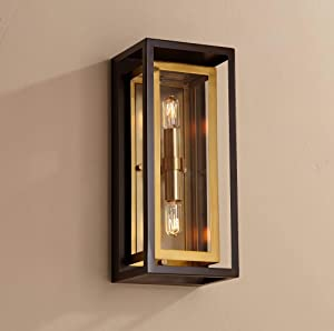 "Kie Modern Outdoor Wall Light Fixture Oil Rubbed Bronze Brass 14"" Double Box for Exterior House Porch Patio Deck - Possini Euro Design"