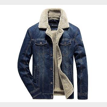 メンズコート・ジャケット-ウィンタープラスベルベット厚手のメンズデニムジャケット