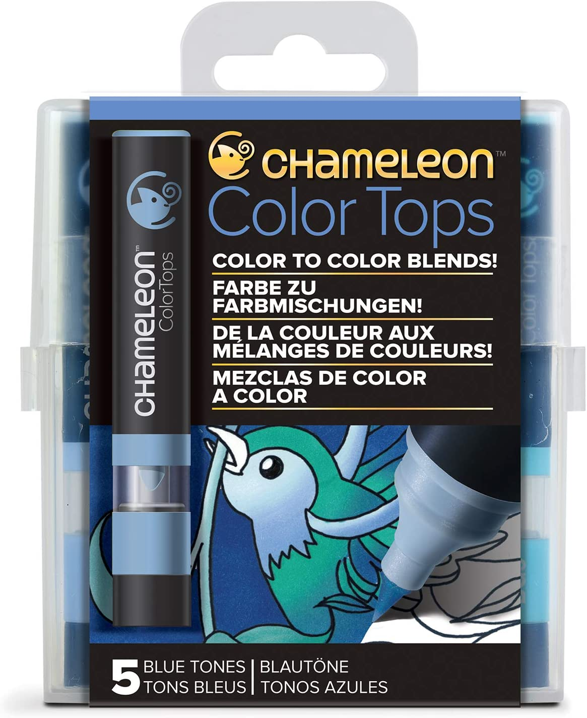 Chameleon Art Products, Blue Tones, Color Tops, Quick and Easy Blending - Set of 5