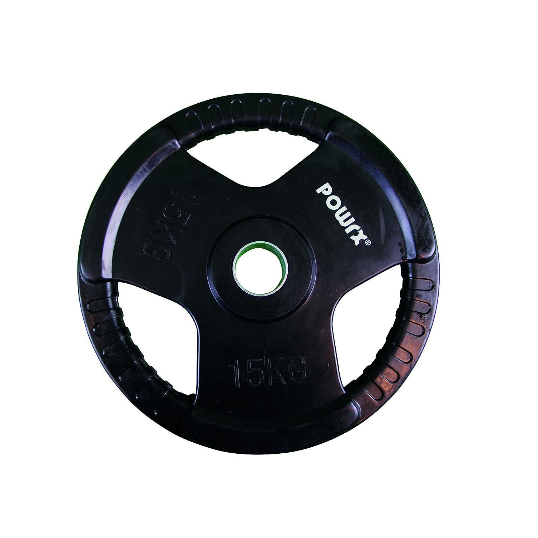 Powrx – Juego de pesas Olympia, 2 unidades, pesas engomadas para barras de pesas largas, diferentes variantes de peso de 2,5 - 20 kg, diámetro del agujero ...