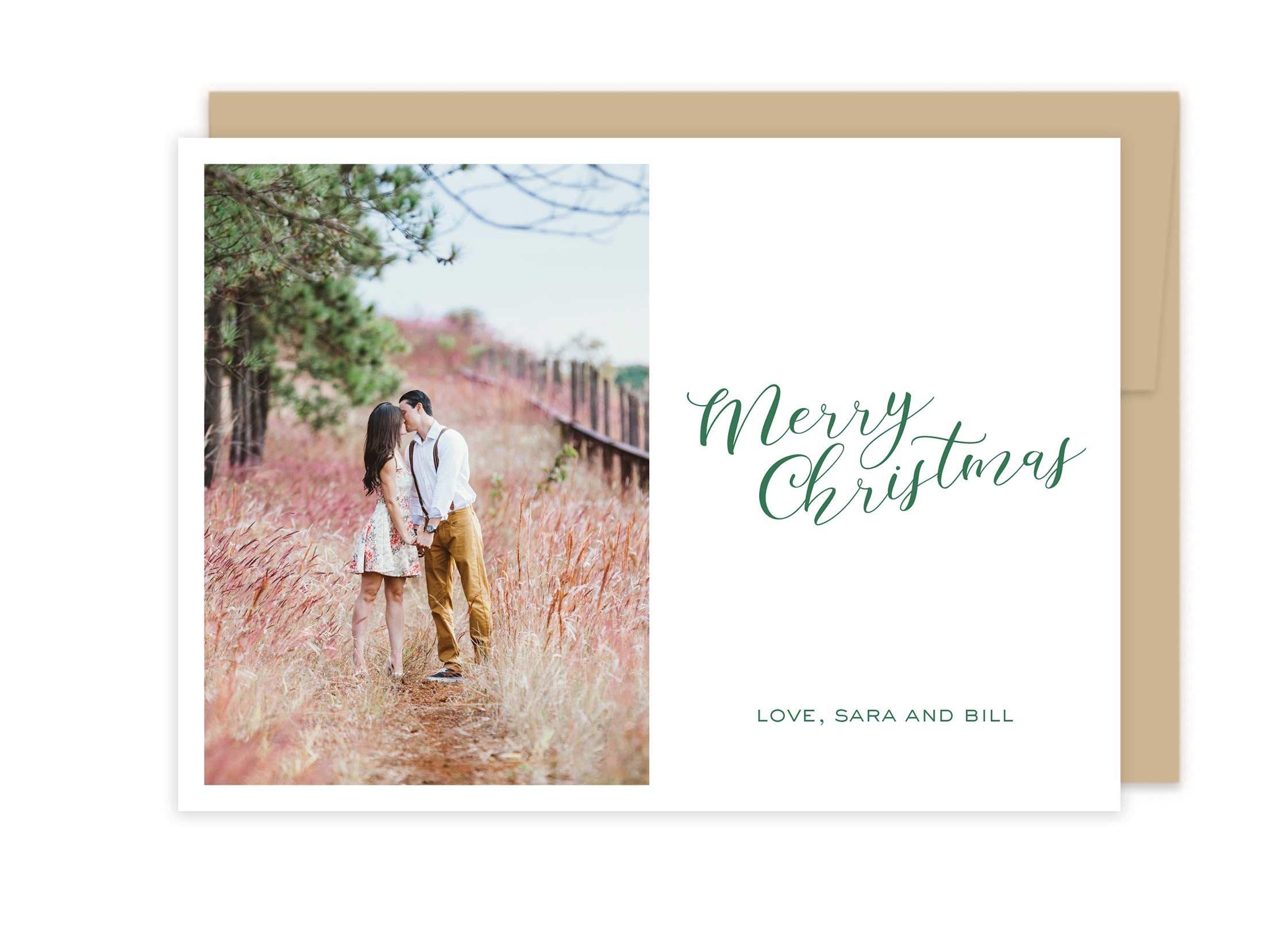 Photo Letterpress Christmas Cards - Merry Christmas Polka Dot